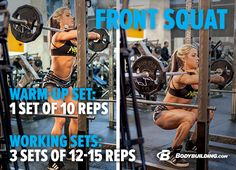 Build Legs You'll Love! Front squats are great for putting more emphasis on the quadriceps. For depth, Ashley suggests going slightly lower than parallel. Bodybuilding.com