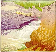 Walter J. Phillips (1884-1963) Rushing River, Lake of the Woods, 1920 colour woodcut on paper (edition: 50) 16.4 x 17.5 cm