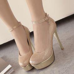 Shoespie Chic Banquet Ankle Wrap Platform Heels