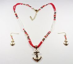 BEACH FASHION RHODIUM NAUTICAL GOLD ANCHOR RED & WHITE BEAD NECKLACE & EARRINGS #Unbranded #Pendant