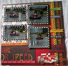 handmade Scrapbook Layout pg. 2:  Racing, Go Karts, Moxxie-Racing kit from www.trmemories.com