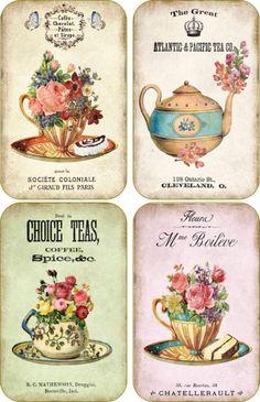 Vintage inspirado en compañía de té Taza Scrapbooking Manualidades ATC de arte alteradas de Set De 8
