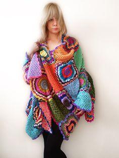 Long Plus SizeXXXXL Multicolor Crocheted Cardigan by subrosa123, €249.00