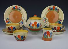 Clarice Cliff Autumn Crocus Teaset For Two in Pottery, Porcelain & Glass, Pottery, Clarice Cliff, Tableware | eBay