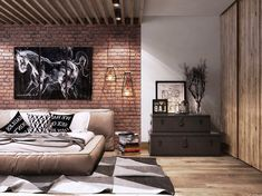 """The painting """"Home"""" in the loft interior. Men's Bedroom Design, Industrial Bedroom Design, Bedroom Loft, Bedroom Wall, Bedroom Decor, Men Bedroom, Industrial Living, Bedroom Ideas, Design Loft"""