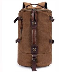 6a9bf76df2e3 Men Dual-Use Canvas Bucket Backpack Jungle Climbing Bag Laptop Backpack  Rucksack Duffel Bag Men s