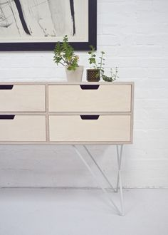 Leonard Sideboard in Pale Grey Formica and Birch Plywood by andNew. www.andnew.co.uk