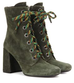 3cd6f5795046e 11/23/16 Prada Army green suede ankle boots Suede Booties, Suede Shoes