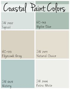 6 soothing blue and greige paint colors used throughout a … Coastal Paint Colors. 6 soothing blue and greige paint colors used throughout a Florida beach home that all flow together. Beach House Colors, Coastal Paint Colors, Greige Paint Colors, Interior Paint Colors, Paint Colors For Home, Beach House Decor, Coastal Color Palettes, Cottage Paint Colors, Soothing Paint Colors