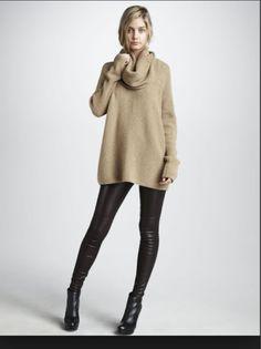 Cozy sweater & leather leggings