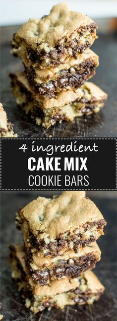 4 ingredient cake mix cookie bars - these are always a hit! 4 ingredient cake mix cookie bars – these are always a hit! 4 ingredient cake mix cookie bars – these are always a hit! Cake Mix Desserts, Cake Mix Cookie Recipes, Easy To Make Desserts, Köstliche Desserts, Cake Mix Bar Cookies, Cake Mix Cupcakes, Cookie Pie, Yellow Cake Mix Cookies, Recipes Using Cake Mix