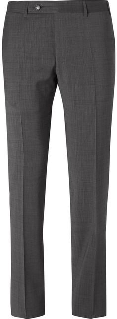 Canali Grey Slim-Fit Sharkskin Wool Suit Trousers