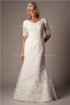 Trumpet/Mermaid Asymmetrical Court Train Lace Wedding Dress