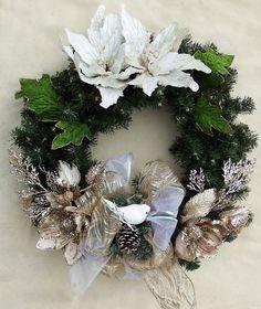 White Gold wreath Christmas wreath Poinsettia by DesignsOnHoliday Poinsettia Wreath, Wreaths For Front Door, Holiday Wreaths, Holiday Decor, Front Doors, Christmas Floral Arrangements, Gold Wreath, Gold Flowers, Decorative Items