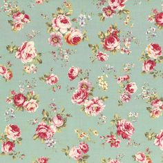 Rococo Sweet Lecien 2014 Pink floral on aqua print by SewElegantly