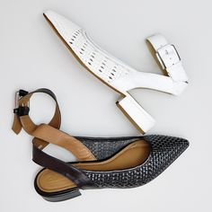 The perfect woven flat 🍒🍒 Tag your bestie who needs to rock these Office Fusion Weave Point Ankle Strap Flats in White or Black Woven Leather #liveyourbestlife #wovenflats