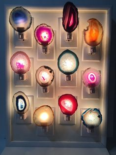 "Gemstones and agate ""slices"" make for some naturally night lights."
