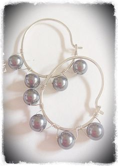 Sterling silver hoop earrings wire wrapped with 6mm gray freshwater pearls - Meredith Terry Earrings on Etsy, $27.00