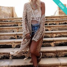 Handmade Bohemian Crochet Cardigan -                             This super verasatile cotton crochet cardigan will be a year around favorite, from shorts to jeans this will pair with everthing!                          - On Sale for $59.00 (was $64.00)