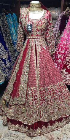 Maroon Bridal Lacha - Maroon velvet skirt and raw silk jacket with gold crystals , zardosi and sequin embroidery Lacha Fabric – Velvet , Raw silk Jacket – Chest , Length 60 Skirt – waist , length Source by - Asian Bridal Dresses, Asian Wedding Dress, Pakistani Wedding Outfits, Indian Bridal Outfits, Indian Gowns Dresses, Pakistani Wedding Dresses, Pakistani Gowns, Bridal Anarkali Suits, Pakistani Bridal Couture