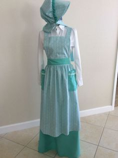 "Pioneer Bonnet, Skirt, and Bib Apron  ""Sarah"" Style,  Sizes available from Extra Small to Extra Large"
