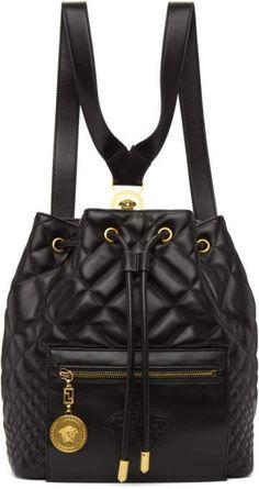 Versace for Women Collection Fashion Handbags, Purses And Handbags, Fashion Bags, Fashion Backpack, Versace Purses, Versace Bag, Black Backpack, Leather Backpack, Versace Backpack