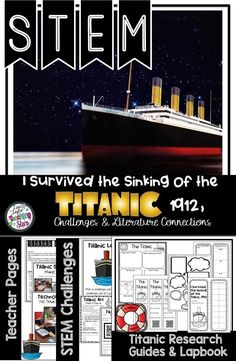 STEM Challenges and Literature Connections are connected to the book I Survived the Sinking of the Titanic by Lauren Tarshis. This product will engage your students as they learn about the Titanic. Students will research, design, and construct through these challenges. Students will go through the Engineering Process as they build and test their Titanic boats using various materials to construct it. Make learning fun!!! Your students will love learning about the Titanic through this project!