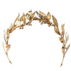 Preowned Neo Classical Laurel Wreath Diadem (15.715 BRL) ❤ liked on Polyvore featuring accessories, hair accessories, jewelry, hair, crowns, hats, beige, bridal hair accessories, bride hair accessories and bridal crown