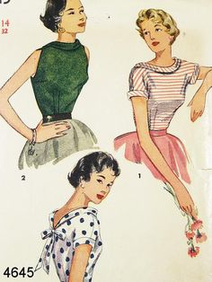 Vintage 50s Blouse Pattern Simplicity 4645 by ThePatternSource