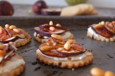 Figs with Pine Nut Shortbread Cookies, Goat Cheese Spread, and Balsamic Glaze Recipe