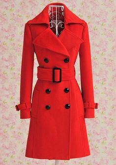 Vintage Turn-Down Collar Double Breasted Solid Color Wool Coat For WomenVintage Coats | RoseGal.com