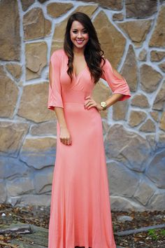 So Sophisticated Maxi Dress: Peach | Hope's #shophopes