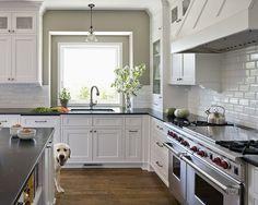 black countertop + white cabinets