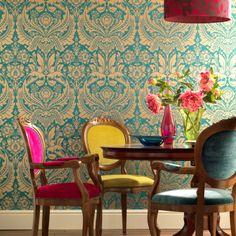 #Desire: #behang met een #vintage #patroon Maak je kamer helemaal trendy met dit behang met een prachtig vintage patroon. Dit behang bevat een moderne versie van het klassieke #damastpatroon en is leverbaar in stoere, eigentijdse kleuren als blauw, bruin, rood, roze, geel en zelfs goud.