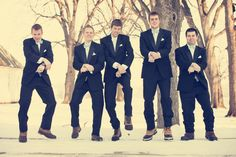 The #groomsmen getting their groove on! Too funny! Photo by Ashley B. #MinnesotaWeddingPhotographers