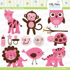 Items similar to Mod Animals - Pink and Brown - Clip Art Set - Digital Elements Commercial use for Cards, Stationery and Paper Crafts and Products on Etsy Brown Babies, Personalized Tags, Paper Piecing, Crafts For Kids, Projects To Try, Stationery, Paper Crafts, Clip Art, Kids Rugs