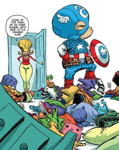 More Insanely Precious Marvel Superheroes As Babies By Skottie Young, I love that the mom looks like Pickles Oblong
