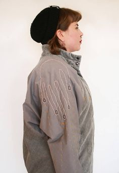 Hand embroidered second hand jacket by Pimped Rägs Corduroy Jacket, Gray Jacket, Bomber Jacket, Embroidered Jacket, Fabric Material, Two Hands, Sewing, Grey, Cotton
