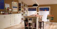 What a beautiful, organised craft room. I can only dream of a space like this one day. Room Colors, Wall Colors, House Colors, Paint Colors, Living Room Inspiration, Color Inspiration, Interior Inspiration, Behr Paint, Brown Interior