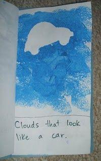 Sponge painted cloud shapes - little cloud, or it looked like spilt milk