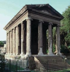 """[Temple of Portunus (Temple of """"Fortuna Virillis""""), Rome, Italy, ca. 75 BCE.] Republican temples combine Etruscan plans and Greek elevations. this pseudoperipteral stone temple employs the ionic order, but it has a staircase and freestanding columns only at the front."""