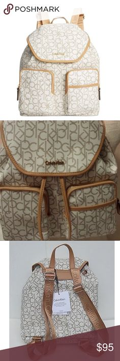 Calvin Klein CK Monogram Backpack White/Brown NWT Calvin Klein luggage exemplifies impeccable quality and high performance durability, designed with functionality and style for the frequent traveler.   Adjustable Straps  2 front zip pockets- 1 slip pocket  3 interior pockets  Brand new with tags  MSRP- $260.00 No trades  No lowball offers, please 💐 Calvin Klein Bags Backpacks
