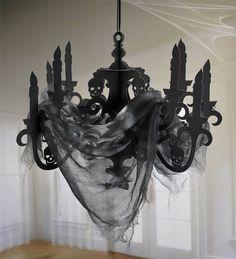 Halloween Chandelier Decoration Black Scary Party Prop Haunted House Hang Skulls
