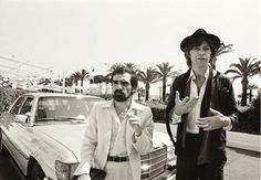 """Martin Scorsese and Robbie Robertson arrive at the Cannes Film Festival to promote """"The Last Waltz"""", 1978.  Scorsese storyboarded nearly every frame of every artist who performed at the concert - no missed footage, every segment perfectly framed and lit.  This film has been called by many as the greatest concert film of all time."""