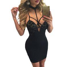 FGirl Ukraine Office Dress Party Dresses for Women Black Choker Neck Strappy Cutout Lace Paneled Dress FG21464