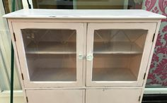 """Shabby Chic glass cabinet painted in Vintro Chalk Paint® """"Madame de Pompadour"""", a beautiful pale pink with a hint of grey, by our stockist Drab 2 Fab.   See www.vintro.co.uk for further information on stockists and sales."""