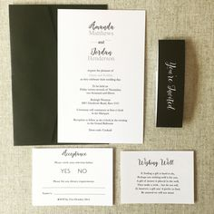 Ultra modern black and white invitation, wishing well, acceptance and white ink bellyband