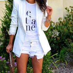 all white outfit, graphic tee, what is fashion, cut-off shorts, white blazer