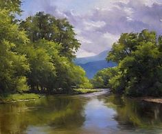 Mettawee Reflections by Andrew Orr Oil ~ 20 x 24 Impressionist Paintings, Seascape Paintings, Nature Paintings, Watercolor Landscape, Landscape Art, Landscape Paintings, Landscape Design, Cool Landscapes, Beautiful Landscapes