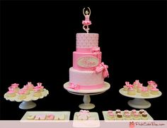 A very girly birthday dessert table for Nina's 3rd birthday!